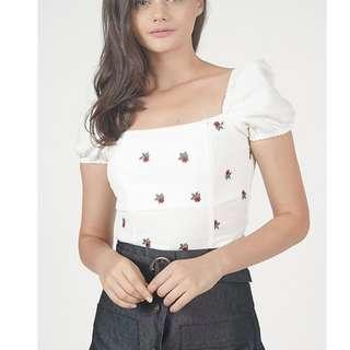 MDS Puff Top in White Mini Floral