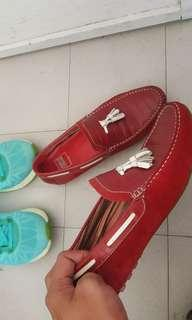 Red loafer shoes