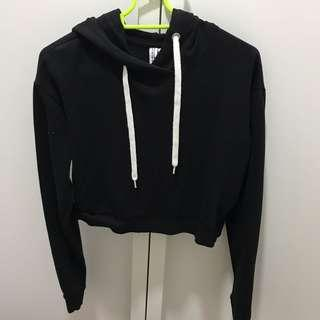 H&M Black Cropped Hoodie