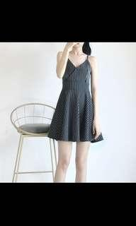 INSTOCK Monochrome Striped Vertical Lines Spag Cami Swing Slip on Babydoll dress