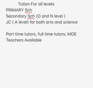 Tution Teacher *All levels and Subject*