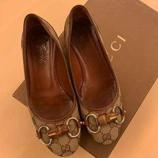 Gucci logo 圓頭平底鞋 brown logo flats