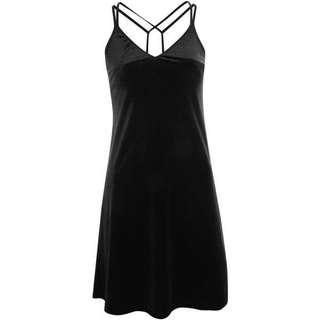 Topshop Petite Black Velvet Dress