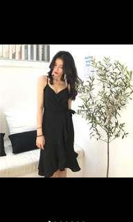 Asymmetric Black Wrap Dress