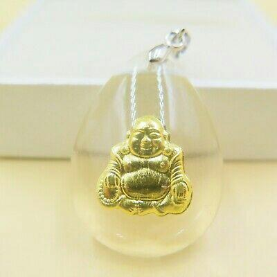24k pure gold 999.9 foil crystal pendant - laughing buddha - buddhist taoist protection blessing gift