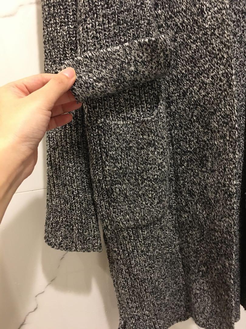 粗針織長版罩衫 厚款 外套 毛衣