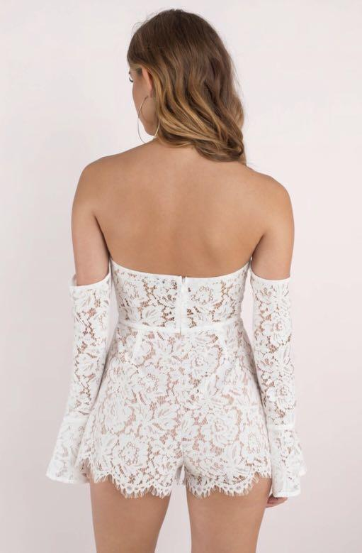 Angelica White Off Shoulder Romper