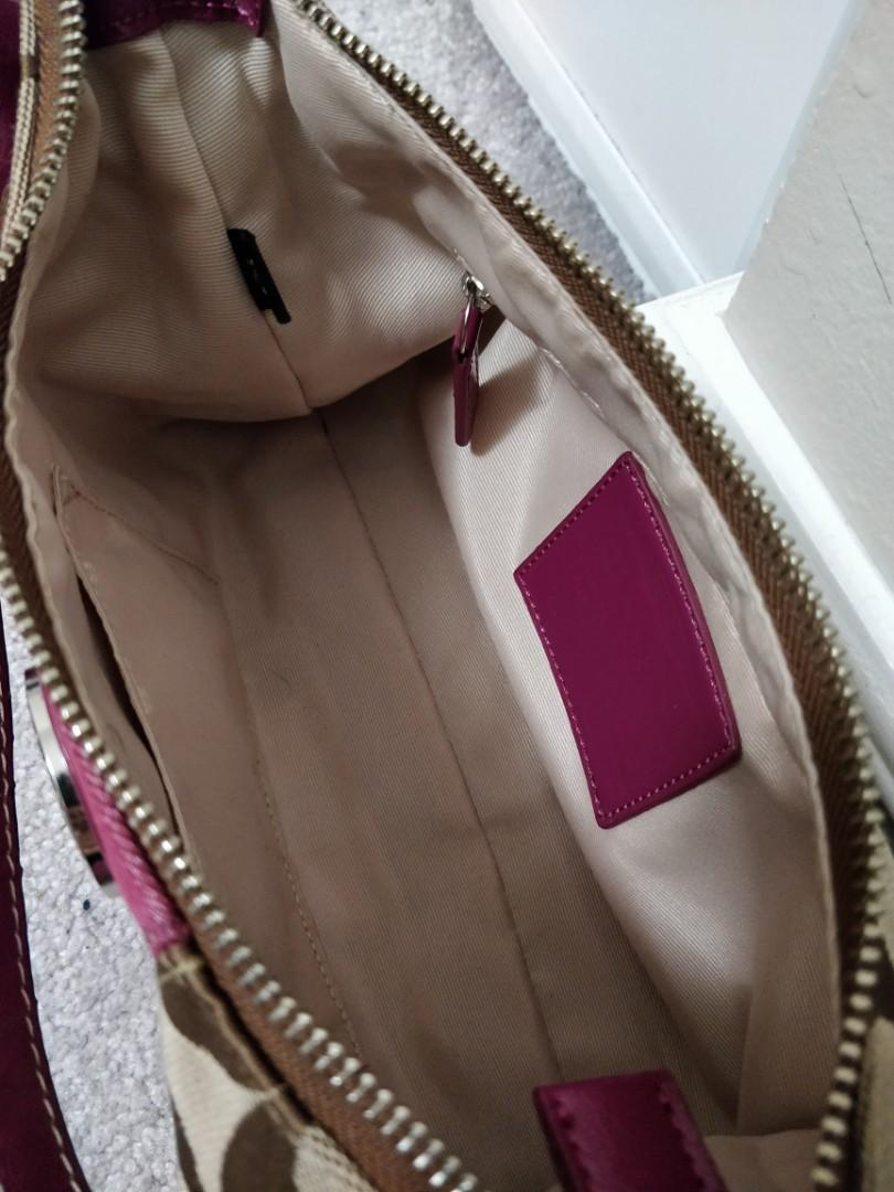 Authentic Tan/Plum Coach Handbag