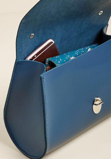 BNIP Limited Edition Brand New The Cambridge Satchel Company Mini Poppy Full Leather Bag in Peacock Blue (Vintage Classic Crossbody Slingbag Handbag Hand Dinner Casual Formal Party Trapeze Doctor's Doctor)