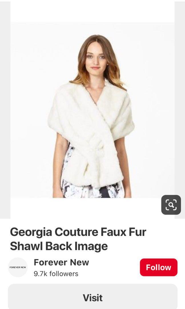 BNWT Forever New Georgia Faux Fur Stole/Shawl in Porcelain