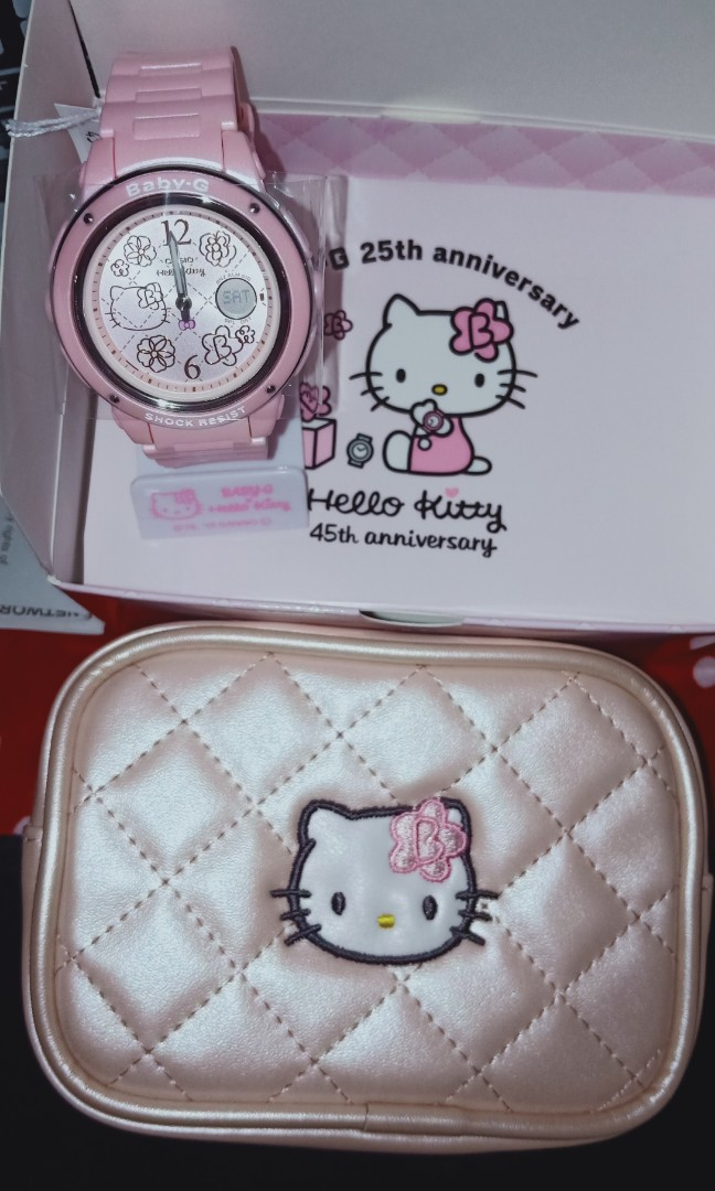e08d9a01e Brand New Hello Kitty Casio Baby G Pink Watch With Pouch, Women's Fashion,  Accessories, Others on Carousell