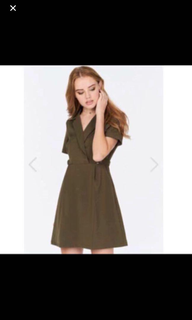 Brand New Theclosetlover Tcl JANNICIA DRESS IN OLIVE