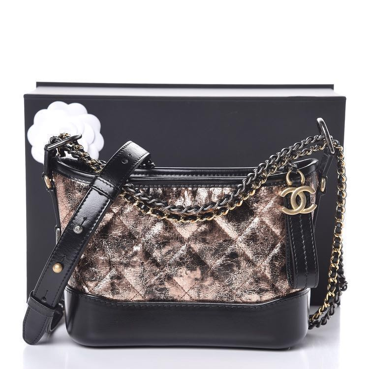 d395d50a050a CHANEL Metallic Crumpled Goatskin Quilted Small Gabrielle Hobo Black ...