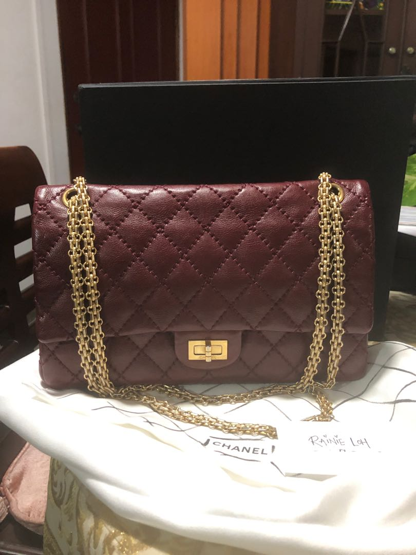 16785317ccbc2f Chanel Reissue 226 Distressed Caviar Burgundy with GHW., Luxury ...