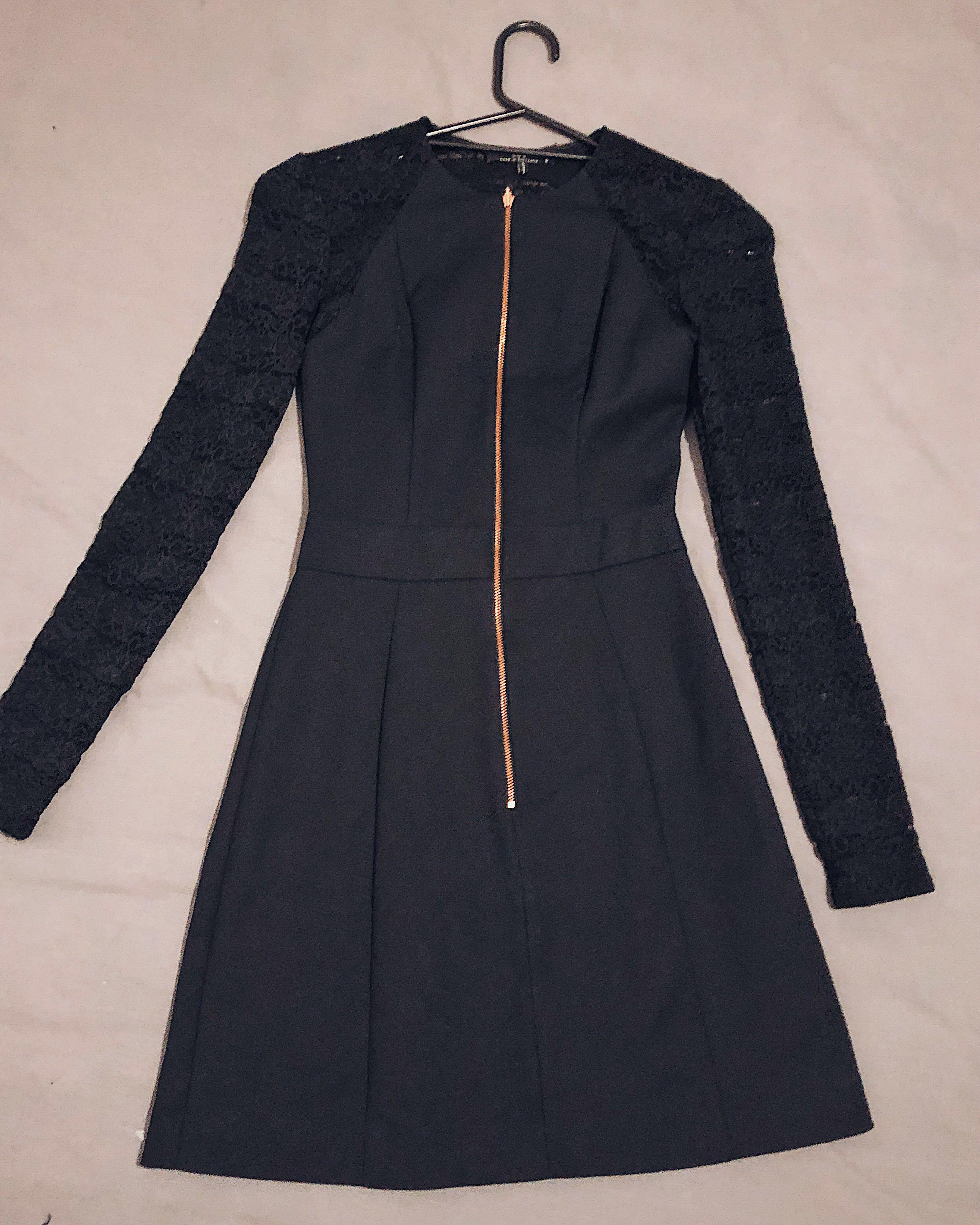 Cue Long Sleeve Dress in Black with Lace Detail | WORN ONCE