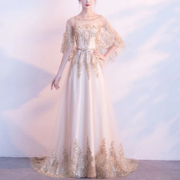 Elegant Gold White Embroidery Pearl Dress Evening Gown Wedding