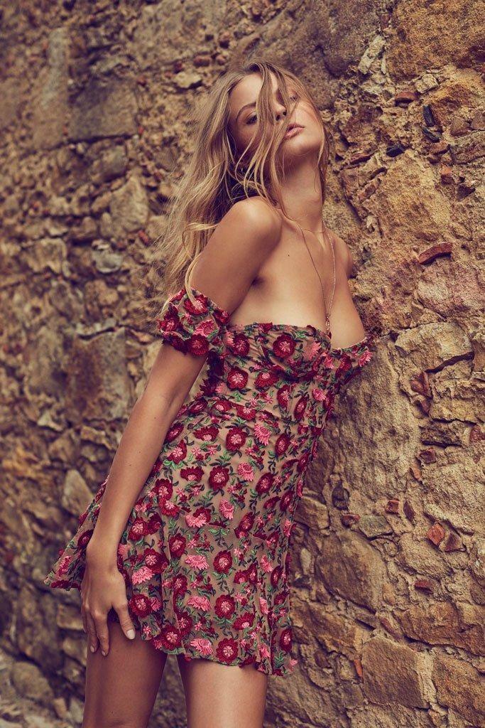 For Love and Lemons Amelia Strapless Dress Rosebud XS