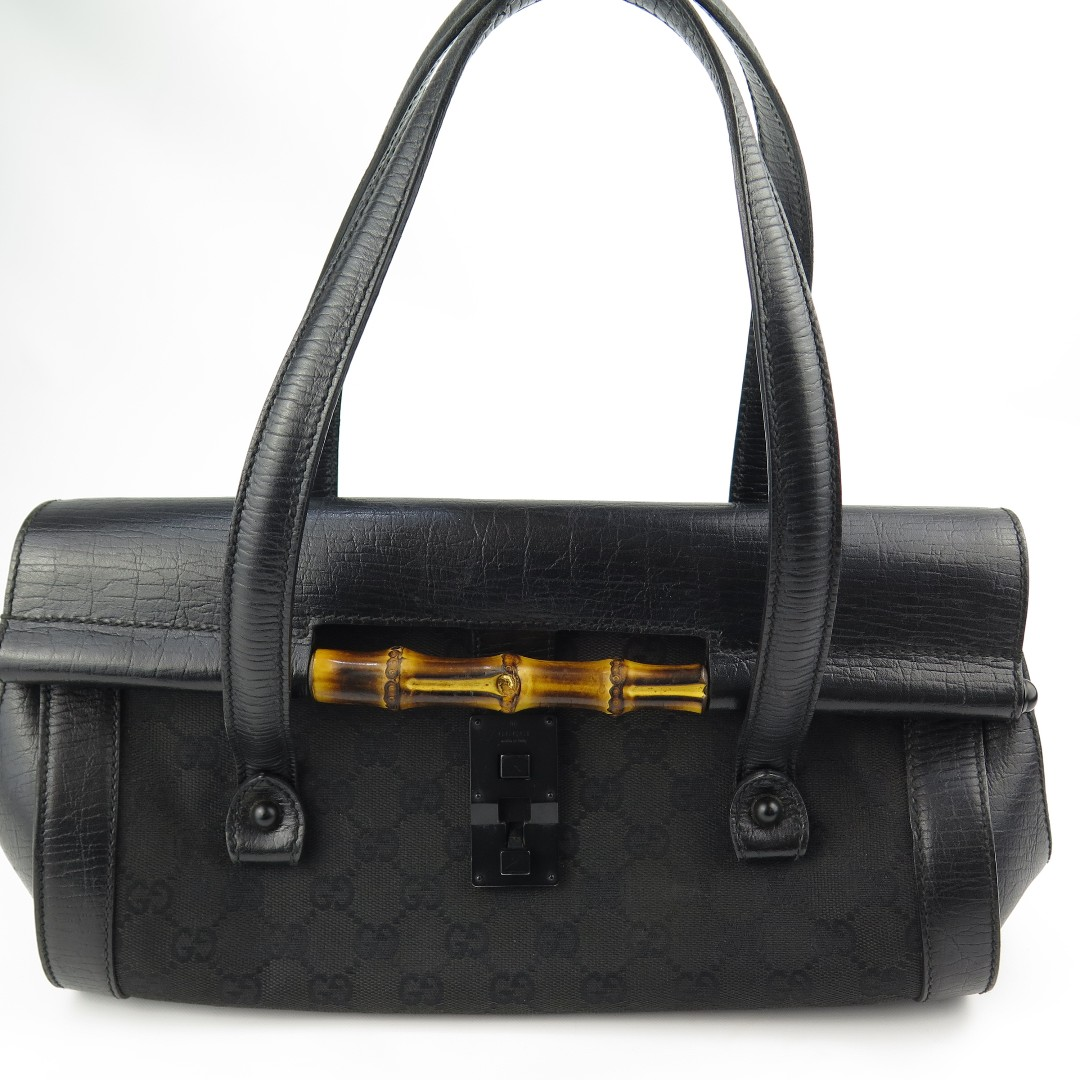fdb38cf13 Gucci Black GG Canvas/ Leather Bamboo Bullet Satchel, Luxury, Bags ...