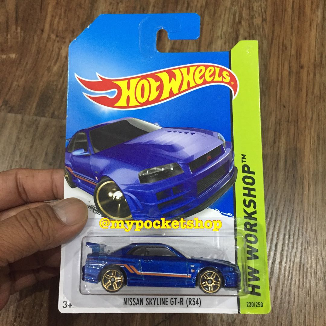 Hot Wheels Nissan Skyline Gt R R34 Blue 2014