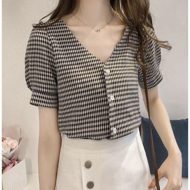 (PO) Korean Style V Neck Plaid Button Top
