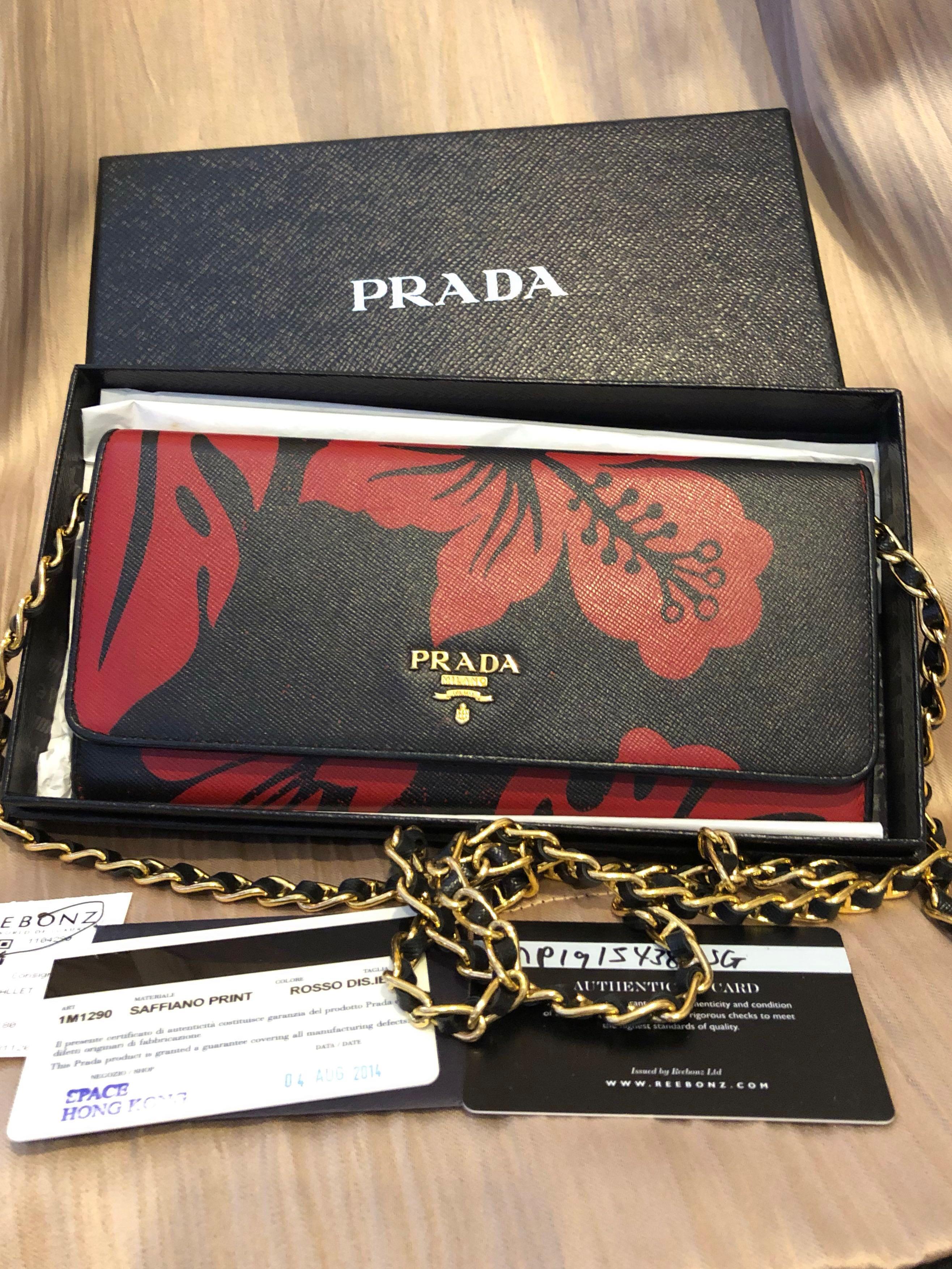 57c5bc688978 Prada Saffiano Wallet On Chain , Women's Fashion, Bags & Wallets ...