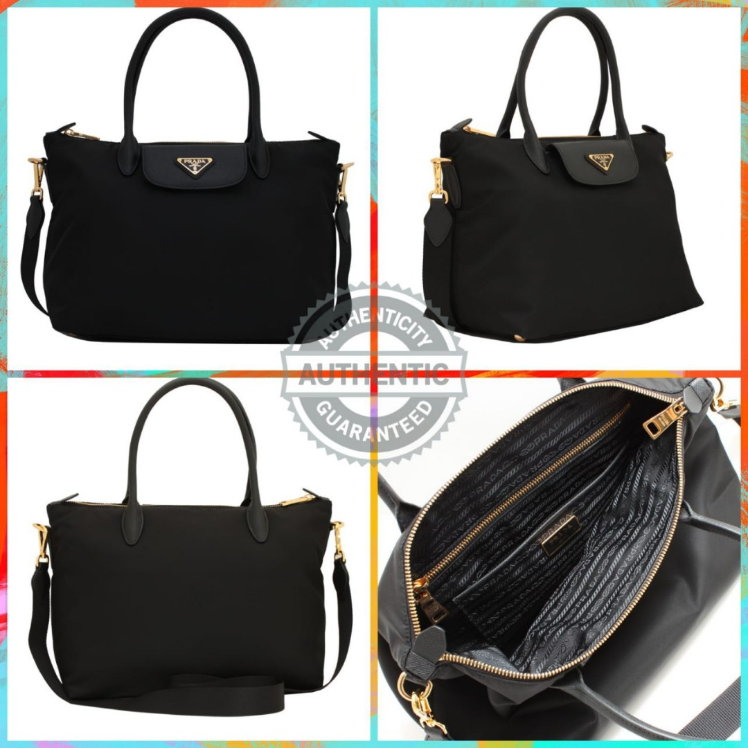 f90d74aa524a Prada Tessuto Nylon Saffiano Leather Bag with detachable strap ...