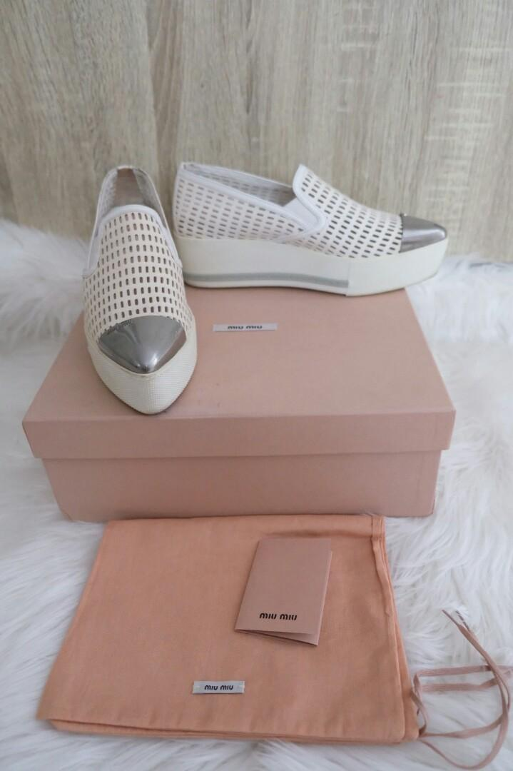 PRELOVED miu miu perforated white double sole size 36complete with box, ex ongkir