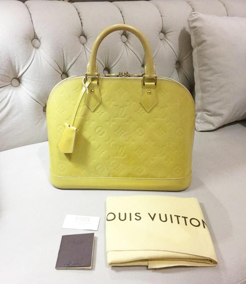 Reprice! 2012 LV Alma PM Vernish Yellow, DC: FL3172 comes with booklet, clochette, key, lock and dust bag