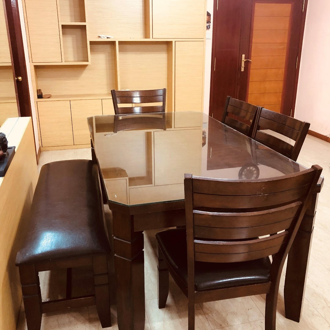 Teak Wood 6 Seater Dining Table With Chair And Bench Furniture