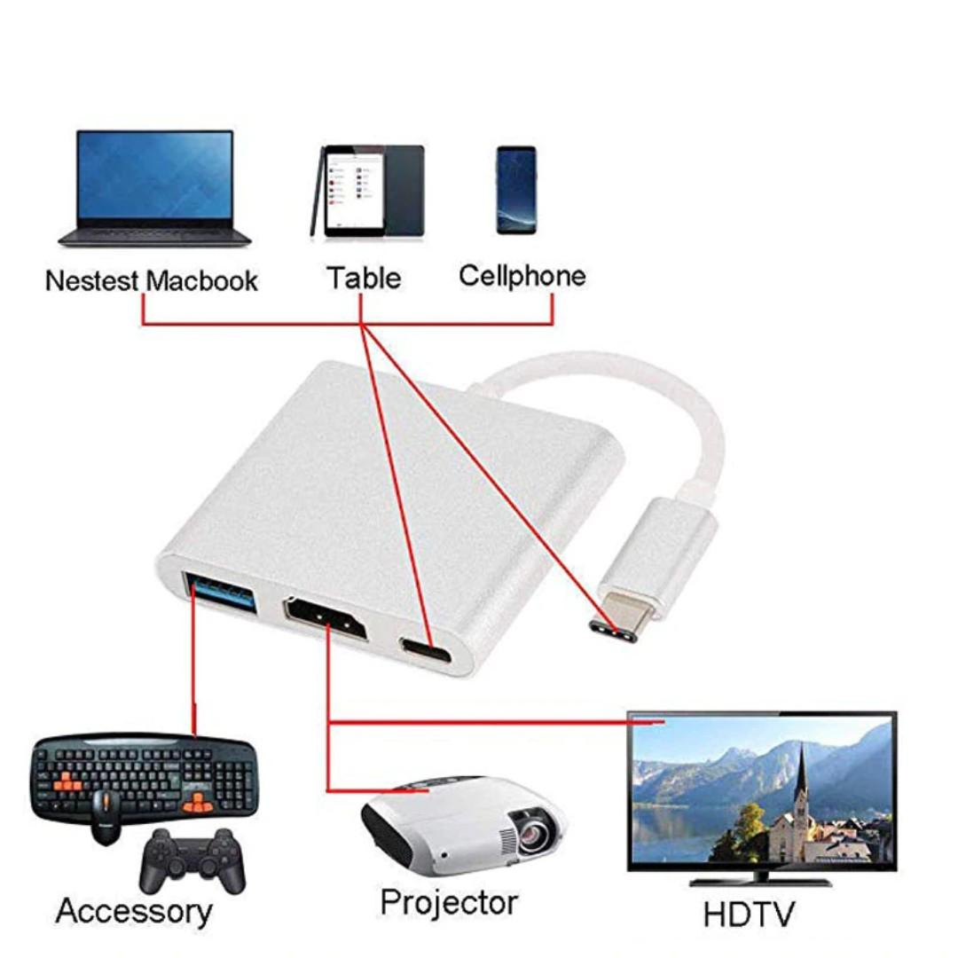 Type-C to HDMI USB 3.0 Adapter 3-in-1 PD Charging Hub Support 4K Converter Cable For Apple for Macbook