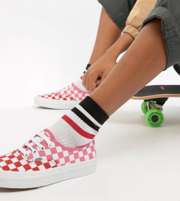 022d420a54 Vans exclusive pink and red checkerboard authentic trainers