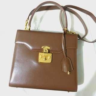 Authentic Gucci Two way Lock Bag Vintage Style dark brown NOT Ferragamo YSL