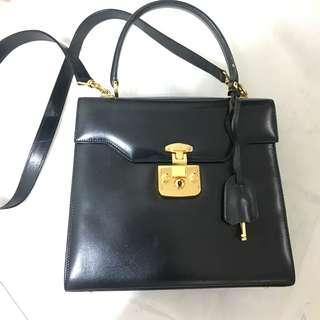 Authentic Gucci Two way Lock Bag Navy Black Vintage NOT Hermes Kelly Ferragamo