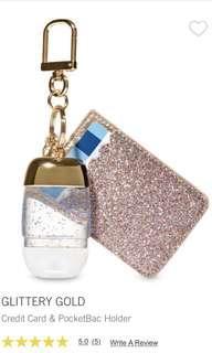 Bath and Body Works GLITTERY GOLD Credit Card & PocketBac Holder