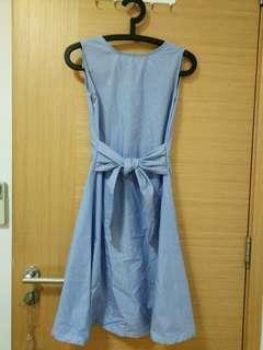 Blue striped lady dress