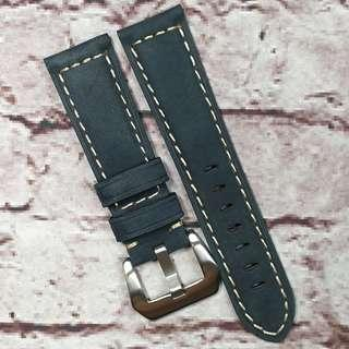 Sale : Premium Genuine Nubuck Leather 22mm Padded Watch Strap Navy Blue (1023NB22)