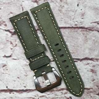 Sale : Premium Genuine Nubuck Leather 22mm Padded Watch Strap Military Green (1022MG22)