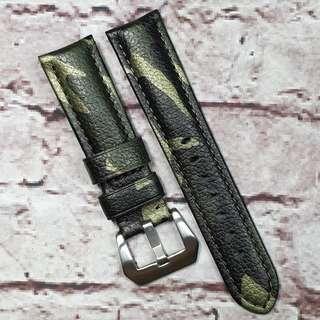 Sale: Premium Genuine Leather 22mm Padded Watch Strap Green Camo Pattern (1020GC22)
