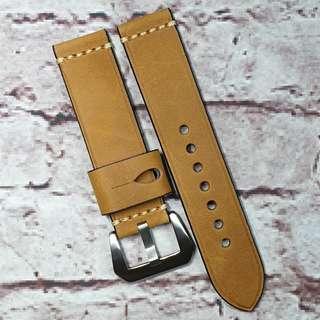 Sale : Premium Crazy Horse Genuine Leather 22mm Watch Strap Brown Colour Single Line Stitch (1013BC22)
