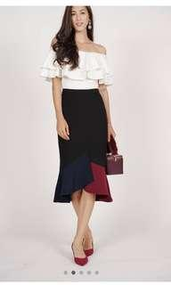 🚚 MDS Navy Color-Block Mermaid Skirt