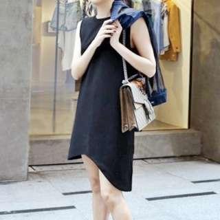 顯腿長不規則無袖連身背心裙 Little black dress