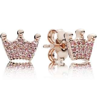 🚚 Pandora  Rose Pink Enchanted Crowns Stud Earrings