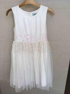 White Sequin and net girls party dress