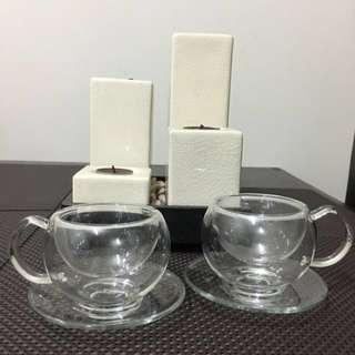 Glass Teacups With Saucers In A Pair