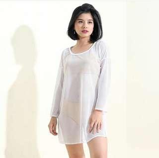 White Net Pullover Dress Cover Up.