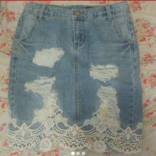 全新靚靚lace牛仔短裙