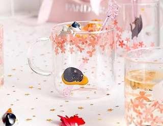 預訂🐱貓國小物 2019 手工玻璃可愛貓爪櫻花🌸花茶杯 餐廳家居豪宅 賀禮擺設 飾物裝飾 情人節兒童節母親節禮物   (一隻) CUTE CAT SAKURA CHERRY BLOSSOM FLOWER TEA GLASS CUP HOME  HOUSE WARMING DECORATION GIFT