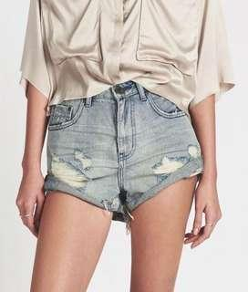 New One Teaspoon Blue storm high waisted bandit denim shorts 22 - 6