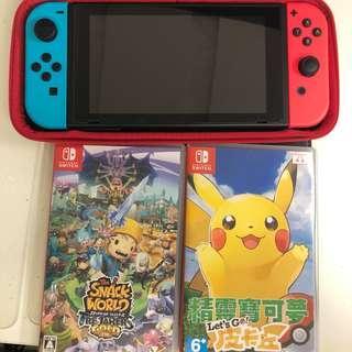 行貨任天堂 Switch + 薩爾達DLC檔無Game + Pokemon Let's Go + Snack World + Overcook (電子版) 可散放