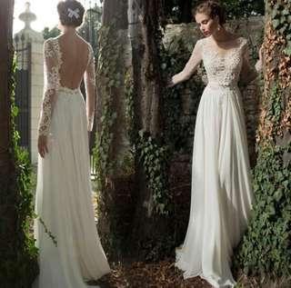 🚚 特價 2019新款氣質禮服伴娘長款修身白色袖蕾絲🌹生日小公主必備❤️